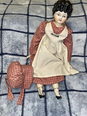$ CDN39.26 • Buy VINTAGE PORCELAIN DOLL HEAD-SHOULDERS, HANDS LEGS #5 With Dress And Bonnet 16""