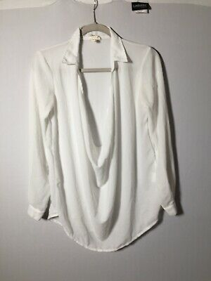 AU26 • Buy Zulu And Zephyr Womens White Blouse Top Size 8 Long Sleeve Cowl Neck