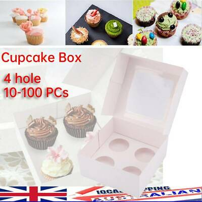 AU70.69 • Buy 4 Hole Cupcake Box Cases 10/20/40/50/100PCs Window Face Cases Party Gift White