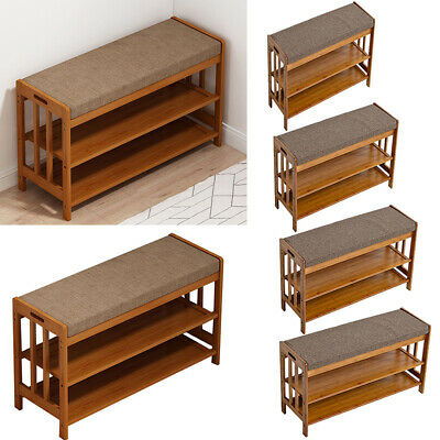 £35.95 • Buy Solid Wooden Shoe Rack Bench Shelf Shoes Changing Seat For Entryway Hallway Room