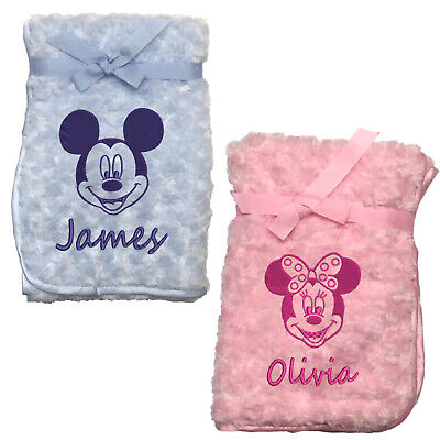 Personalised Mickey Minnie Mouse Blanket Embroidered Name New Born Baby Blankie  • 12.99£
