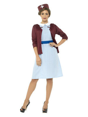 Ladies Vintage Nurse Costume 1940s WW2 Fancy Dress Womens Outfit Uk 8-18 Conditi • 19.99£