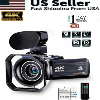 $109.98 • Buy Camcorder Video Camera Ultra HD 4K 48MP Camcorder Camera With Microphone & Remot