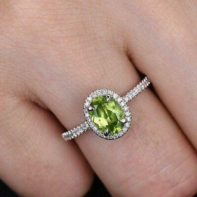 AU129.99 • Buy 0.9Ct Oval Cut Green Peridot Halo Solitaire Engagement Ring 14k White Gold Over