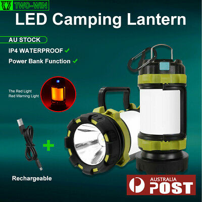 AU35.05 • Buy Rechargeable LED Camping Lantern Outdoor Tent Light Lamp & Power For Phone 1x