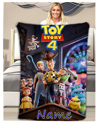 Toy Story 4 Personalised Throw Blanket Warm Soft Bed Sofa Fleece Kids Bday Gift • 23.99£
