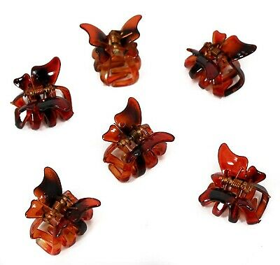 £3.25 • Buy Set Of 6 Mini 2cm Butterfly Hair Claws/Clips - Brown