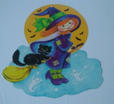 $ CDN12.70 • Buy Halloween Cutout Decorations Vintage Witch Black Cat Casper Die Cut