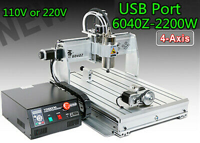 $1840 • Buy 4Axis USB 6040Z-2200W 2.2KW ER20 Spindle Mach3 CNC Engraving Mill Machine 220V