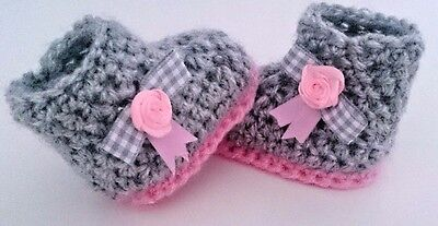 BABY Baby CROCHET HANDMADE SHOES BOOTS BOOTIES KNITTING FIRST SHOES • 4.89£