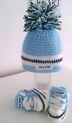 Handmade Baby Shoes Trainers And Hat,,sneakers,booties,boots,crochet • 8.90£