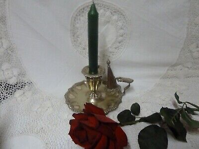 Vintage Silver Plate Candle Holder Snuffer Marked Candlestick Chamberstick Old • 29.99£