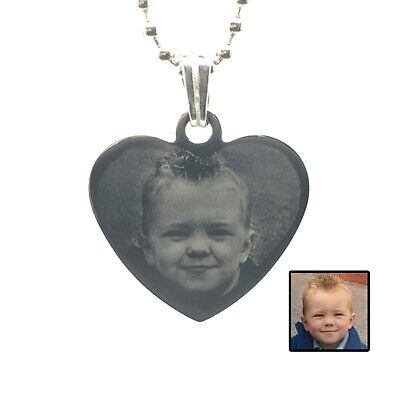 Personalised Photo Engraved Medium Heart Pendant - Stainless Steel Necklace • 12.99£