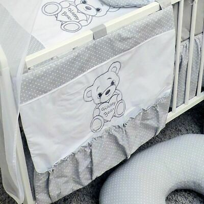 Baby Nursery Cot Organiser / Cot Tidy For Cot Or Cot Bed - Happy Bear Grey • 9.99£