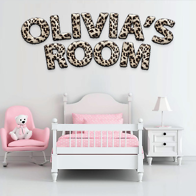 Childrens Name Wall Stickers Art Personalised Animal Fur For Boys Girls Bedroom • 9.99£