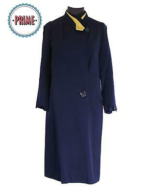 TRUE VINTAGE Womens Blue Art Deco 1920s 1930s Coat With Yellow Accents UK 10 • 179.99£
