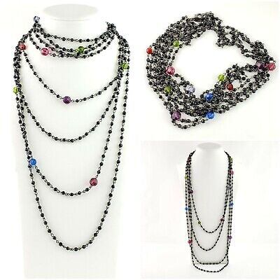 $ CDN19.77 • Buy Lia Sophia Black Multi Strand Long Necklace Colored Faceted Beads Layering