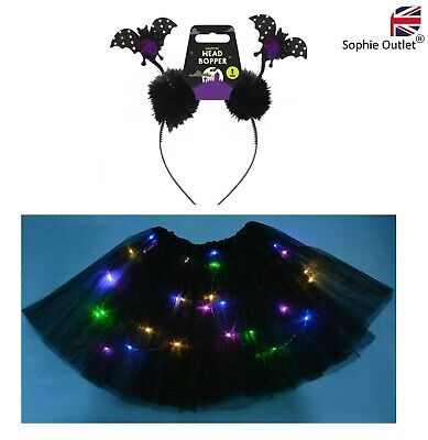 Halloween LIGHT UP BLACK BAT TUTU COSTUME Girls Toddler Ladies Fancy Dress UK • 5.99£