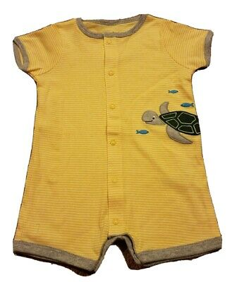 £11.56 • Buy NEW Carter's Baby Unisex Yellow Striped Turtle Theme Romper Size 9 Months