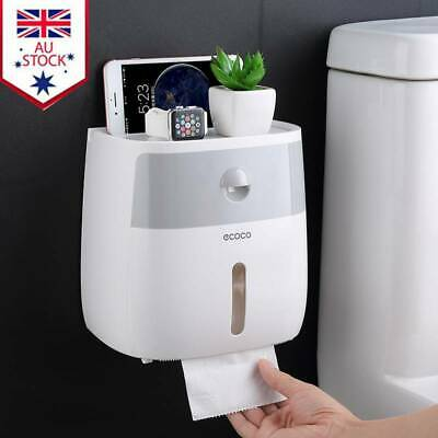 AU22.88 • Buy Wall Mounted Toilet Paper Double Roll Holder Tissue Bathroom Storage Hook Shelf