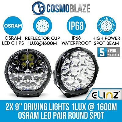 AU180 • Buy Cosmoblaze 9  Driving Lights Genuine Osram LED Pair Round Spot 1LUX 1600M  IP68