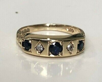 AU298 • Buy 9k Solid Gold Sapphire & Diamond Ring 3.23g Size N 1/2 -  6 3/4