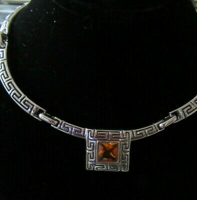 Vintage Necklace Amber Faceted Glass Stone And Silver Tone Greek Pattern Design • 9.50£