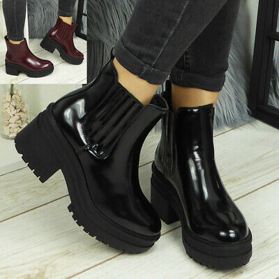 Womens Ankle Chelsea Platform Boots Ladies Punk Goth Chunky Heel Cleated Shoes • 12.99£