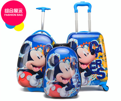 16  Blue Mickey Mouse Children Kids Travel Luggage Suitcase Trolly Bag Holiday • 29.99£