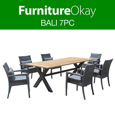AU1999 • Buy Bali 7pc Wicker Teak Outdoor Dining Setting Patio Set Table Chairs Furniture