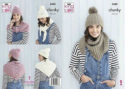 Ladies Shawls &  Hats Knitting Pattern For Chunky Yarn New From King Cole 5685 • 2.95£