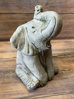 £28.95 • Buy Stone Garden Cute Sitting Trunk Up Baby Elephant Gift Ornament