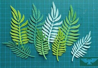 Mix 16 Tropical Jungle Leaves Paper Die Cuts Card Topper Tropical Flower Summer • 2.50£