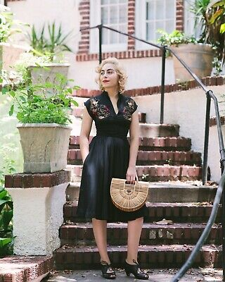 £100 • Buy Trashy Diva Dragons Embroidered Maria Vintage Swing Black Dress Pinup Xs 1950s