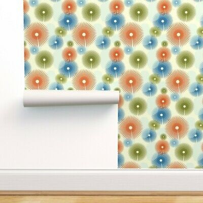 Peel-and-Stick Removable Wallpaper Abstract Flowers 50S Retro Inspiration • 78.93£