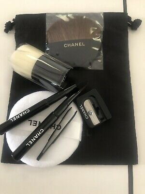 BN CHANEL Travel  Brushes Set - Including Kabuki Tweezers Sharpener Powder Pouch • 26.50£