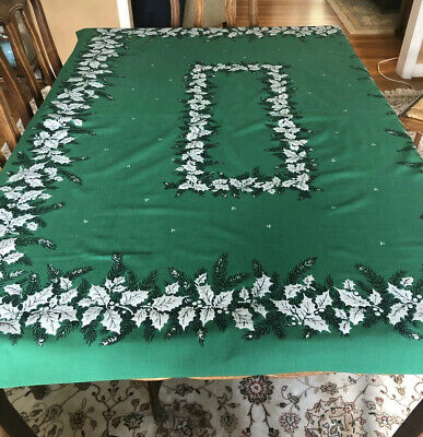 $ CDN19.60 • Buy Vintage Christmas Tablecloth Mid Century Green With Silver Holly