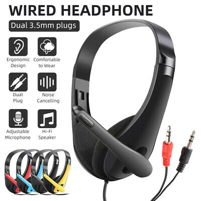 AU19.04 • Buy AU Headphones Wired With Mic Headset Gaming Earphone For Computer PC 3.5mm Jack