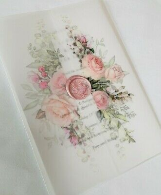 £4.75 • Buy Personalised Luxury Wedding Invitations A5 Vellum, Wax Seal And Floral Design