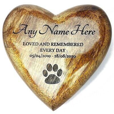 £11.99 • Buy Heart Shaped Ashes Box Pet Dog Or Cat Urn Wooden Casket Cremation Box - Italic