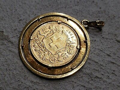 $1695 • Buy  20 Francs PURE GOLD SWISS COIN CIRCA: 1947  WITH 18K GOLD CUSTOM MADD BEZEL