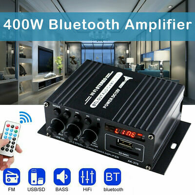 220V 400W Bluetooth HiFi Power Amplifier Mini Audio Digital Stereo FM AMP Remote • 12.99£