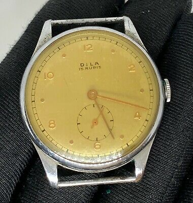 $ CDN35.72 • Buy Dila 15 Rubis Hand Manuale Vintage 33 MM Swiss No Funziona For Parts Watch