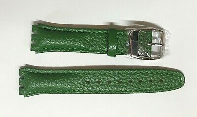£6.99 • Buy Replacement 17mm Leather Watch Strap In Green For Swatch Metal Buckle