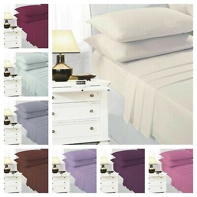 Easy Iron Percale Polycotton Fitted Bed Sheet 100% Poly Cotton Plain Dyed Sheets • 5.99£