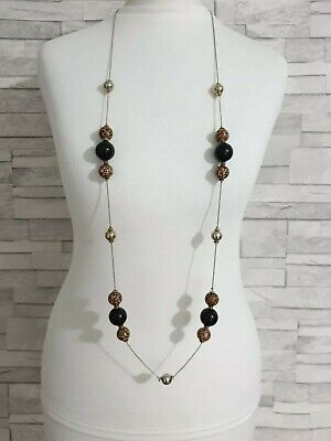 RIVER ISLAND Long Beaded Necklace Leopard Print Gold Chain STATEMENT Jewellery  • 9.95£