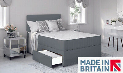 Grey Divan Bed With Memory Foam Mattress & Headboard 4FT6 Double 5FT Kingsize! • 164.99£