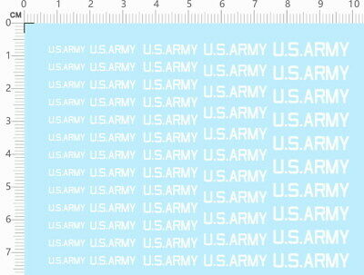 £3.99 • Buy Water Slide Decal US ARMY For Different Scales Model Kits (white) 1461F
