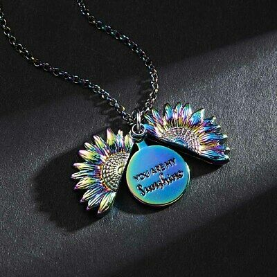 You Are My Sunshine Locket Sunflower Pendant Necklace Women Jewellery Gift&gela • 4.62£