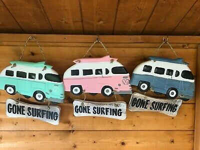 Retro Gone Surfing VW Camper Van Plaque Sign Beach Sea Shabby Chic Wall Hanging • 9.99£